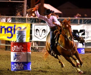 Carter Howell competes in the first round of flag racing on her mare, Fancy, at the Little Britches National Finals Rodeo. She won the first go-round and emerged as the world champion in the event.(Courtesy photo, Jennings Rodeo Photography)